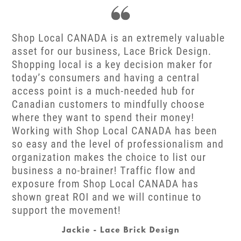 Shop Local CANADA review, Lace Brick Design, Canadian Business Directory